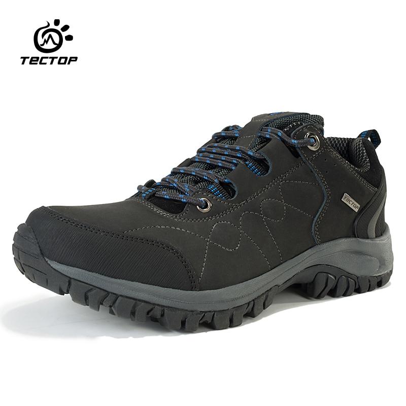 Tectop Genuine Leather Hiking Shoes Man Sport Trekking Mountain Boots Outdoor Waterproof Men Hiking Boots Men Climbing Shoes feozyz waterproof hiking shoes men cow leather trekking hiking boots mountain climbing shoes men zapatillas outdoor hombre