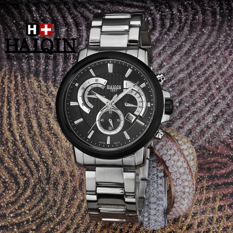 luxury wristwatches 316L stainless steel quartz man watches black silver Citizen movement 100m waterproof HAIQIN mens top brand ysdx 398 fashion stainless steel self stirring mug black silver 2 x aaa