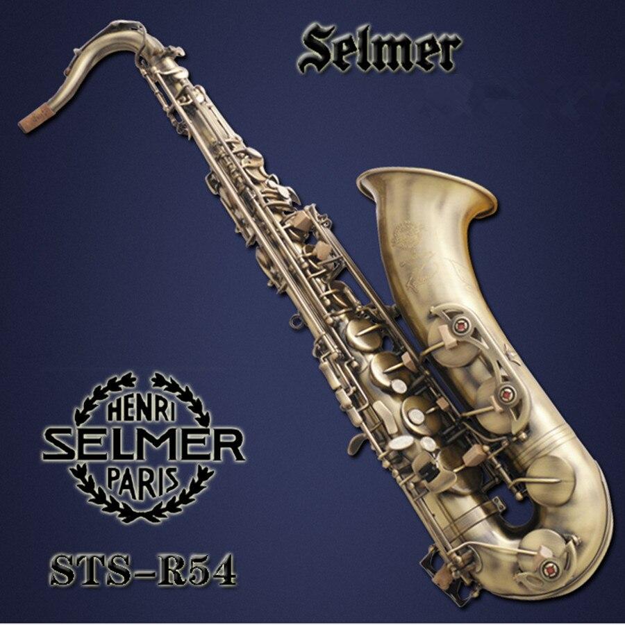 saxophone DHL free shipping Selmer R54 B flat tenor saxophone / tube / matte matte antique instruments free shipping france saxophone instrument selmer b flat tenor sax wind antique bronze tube bag mail reed