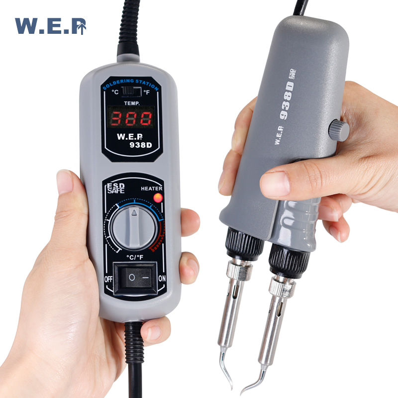 WEP 938D Thermostatic Portable Soldering Station Tweezer Soldering Iron For SMD BGA Repair [sa]american pace soldering station tweezer handle