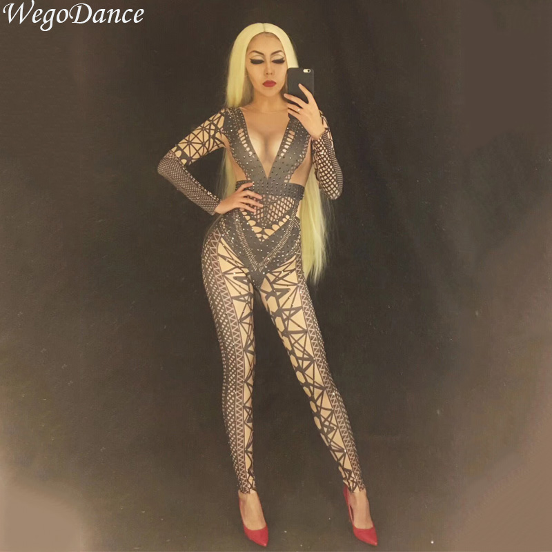 New Sexy Fashion Full Rhinestone Black Pantyhose Nightclub Bar Singer DJ GOGO Costume Bodysuit Women Freeshipping