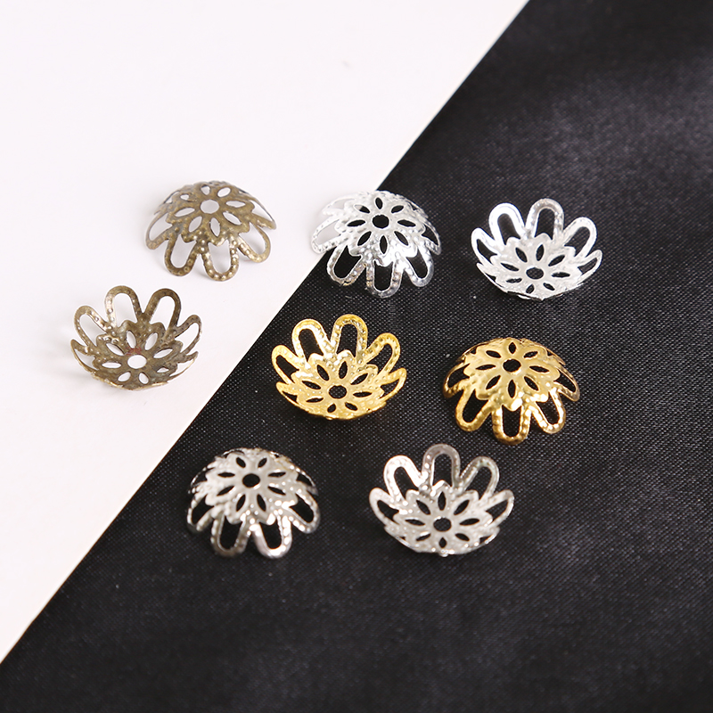 Pack of 6 C43//17 Silver Plated Filigree Petal Flower Dome Bead End Caps 6mm