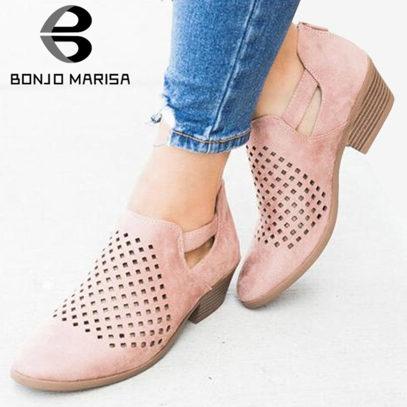 BONJOMARISA Spring New Retro Hollow Pumps Women 2019 Ladies Summer Vintage Sandals Low Heels Casual Shoes Woman Large Size 35-43BONJOMARISA Spring New Retro Hollow Pumps Women 2019 Ladies Summer Vintage Sandals Low Heels Casual Shoes Woman Large Size 35-43
