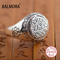 BALMORA Vintage 100% Real 925 Sterling Silver Jewelry Buddhistic Six Words' Mantra Rings for Women Men Lovers Gifts SY20992