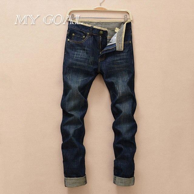 2016 лето стиль мужчины джинсы бренд высокого качества известный дизайнер джинсы Ретро прямые джинсовые брюки