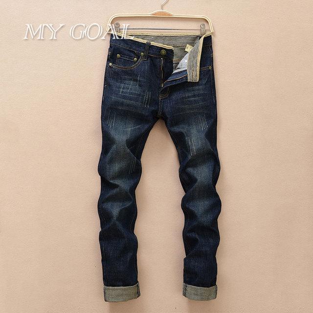 2016 estilo do verão calças de brim dos homens famoso designer de marca de alta qualidade denim jeans Retro calças jeans retas