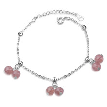 LUKENI Cute Strawberry Crystal Female Bracelets Women Jewelry Fashion 925 Sterling Silver For Girl Lady Birthday Gift