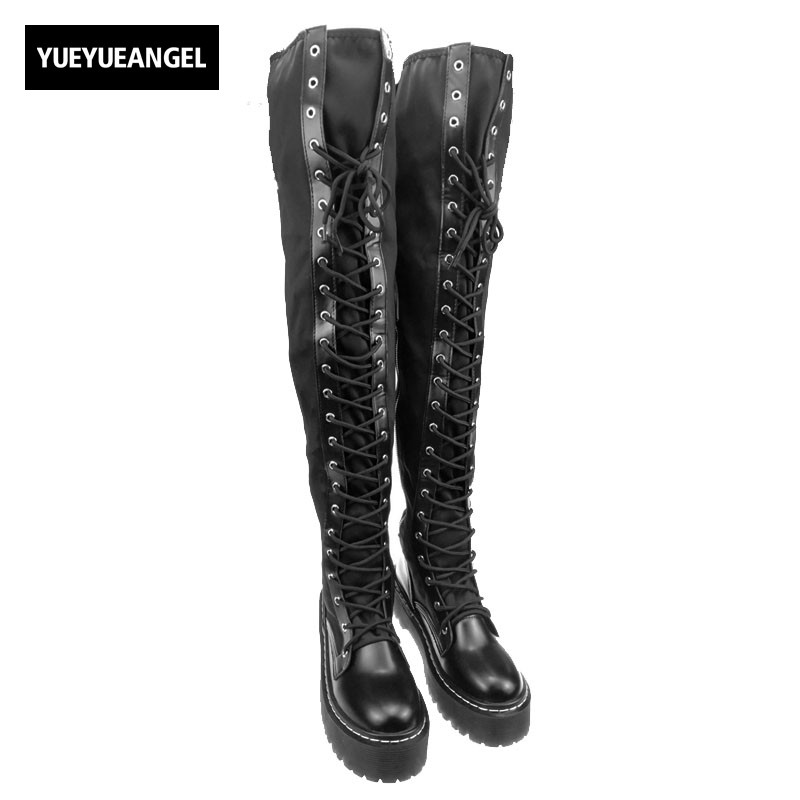 цена  New Punks Fashion Womens Leather Platform Shoes Creepers For Woman  Lace Up Over The Knee High Riding Boots Black Stretchy Boots  онлайн в 2017 году