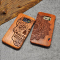 New Natural Wooden Wood Carving Case Anchor Flower Pattern For Samsung GALAXY S6/ S6 Edge/ S7/ S7 Edge Smart phone Cover