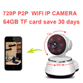 64 gb salvar dias câmera ptz motion alarme de detecção de câmera monitor do bebê Câmera IP Wifi IR Cut P2P HD720P cctv Night Vision V380