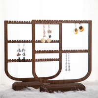 New Style Black Walnut Solid Wood Earrings Display Holder Jewelry Display Stand Fashion