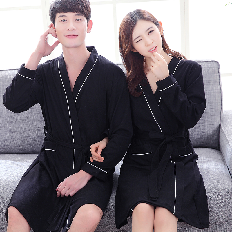 Free shipping Lovers black knitted cotton sexy men big robe plus size japanese style women bathrobe sleepwear