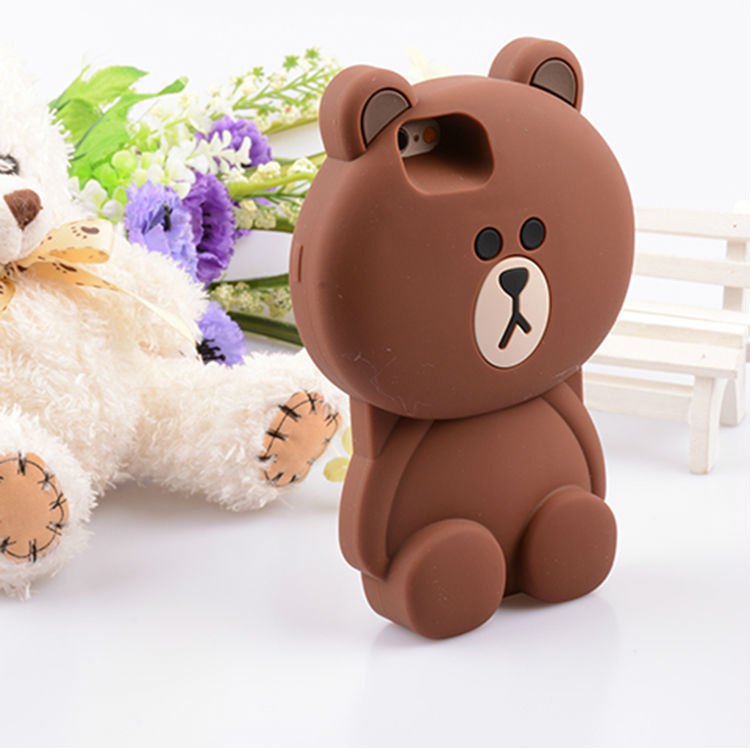 New Cute 3D Cartoon Lovely Bear Soft Silicon Phone Case Cover For iPhone 6 6S 4.7″ 6Plus 6S Plus 5.5 Inch Super Big