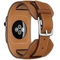 Para apple watch banda de cuero 42mm pulsera cuff band con adaptador para iwatch venda de reloj de cuero correa 38mm marrón
