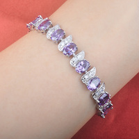 2017 Fashion Purple Zirconia Stamped 925 Silver For Women Link Chain Bracelet Free Shipping OS0105