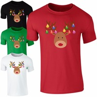 Fashion Christmas Baubles Rudolph Reindeer Face T Shirt Men Women Xmas Decorations Cotton O Neck T