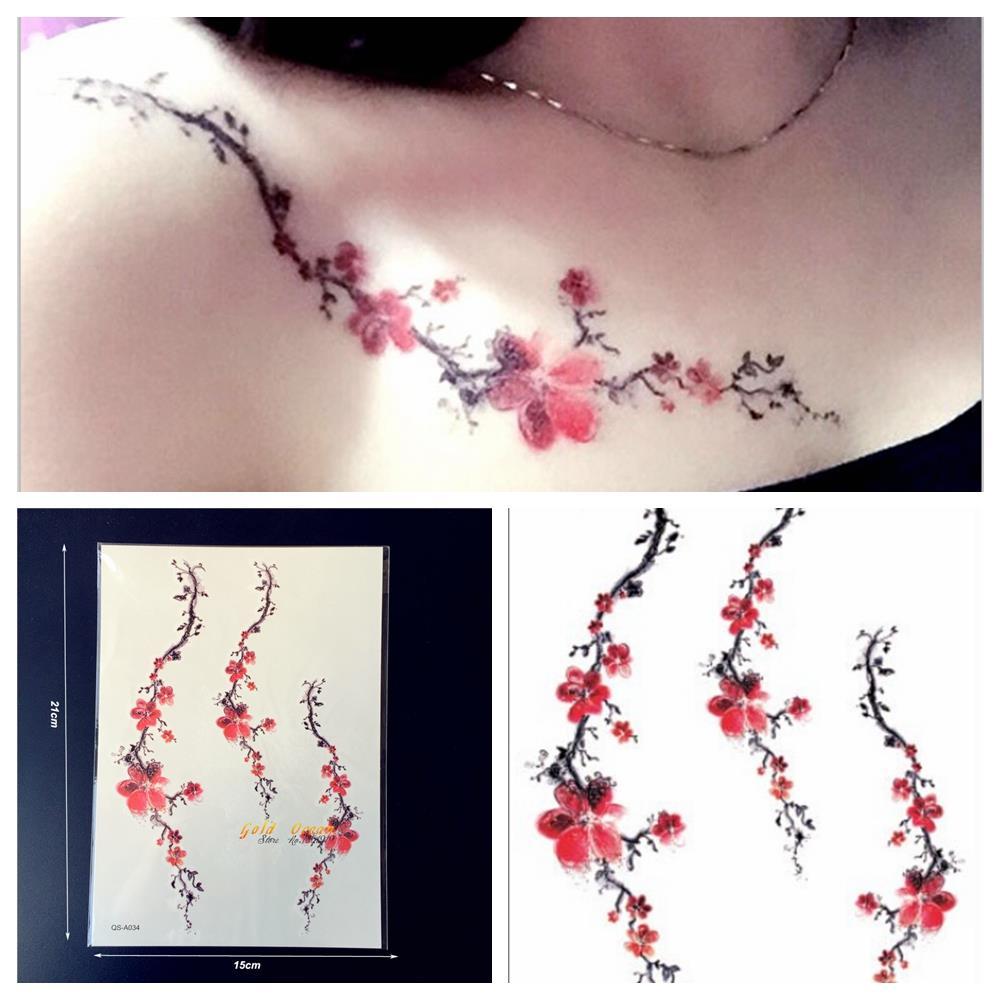 1PC Women Sexy Tattoo Plum Blossom Pattern GQS-A034 Branch Red Sakura Tattoo Paster Summer Style Tattoo Fake Waterproof Tatoo