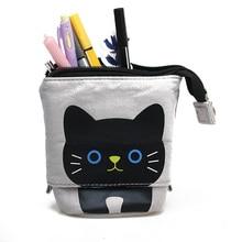 1 PC Kawaii gato estilo lápiz caso cremallera gato lápiz caja para niños niñas niños escuela suministros estudiante papelería regalo