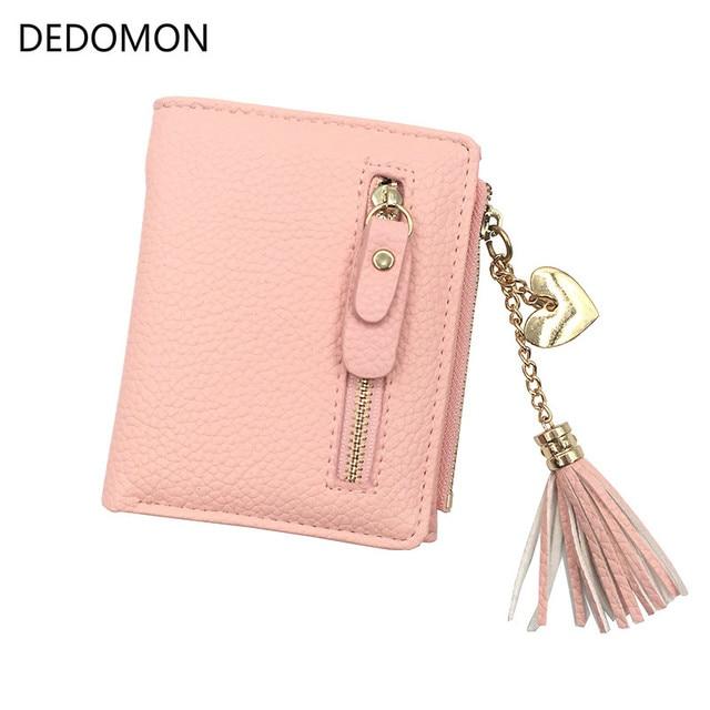 small tassel women wallet 2018 luxury brand short leather double zipper two fold female purse with heart chain card holder
