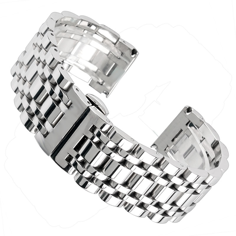 20/22/24mm High Quality Silver Stainless Steel Bracelet Solid Link Luxury Men Women Watchband Watch Band Strap Replacement wholesale price high quality fashion high quality stainless steel watch band straps bracelet watchband for fitbit charge 2 watch