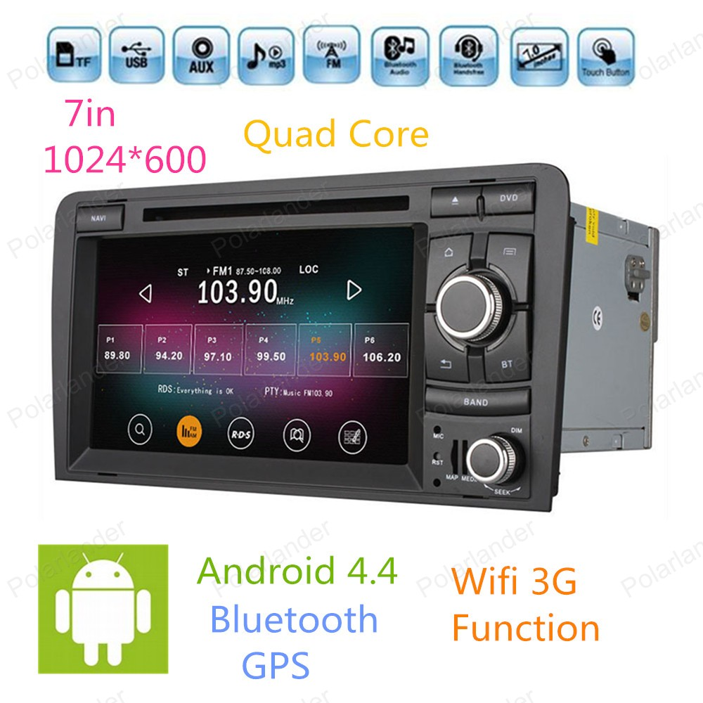 Android 4.4 4 Core Car DVD GPS Navigator For Audi A3 2003 2004 2011 with Radio Player Support DVR 2G/16GB HD