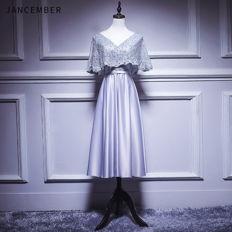 JANCEMBER 2019 Summer Latest   Cocktail     Dresses   V Neck Cap Short Sleeve Backless Zipper Back Pearl Pearl Lace vestido cocktel New
