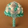 Элегантный в наличии невесты цветы холдинг свадебный букет невесты стразы кристалл 2016 горячие продаж искусственные свадебный букет