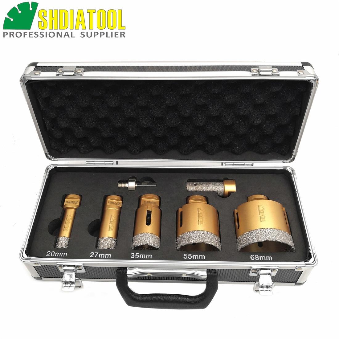 SHDIATOOL 1 juego M14 brocas de núcleo de diamante soldadas al vacío con caja Dia20/27/35/55/68mm adaptador de sierra de agujero de cerámica de mármol