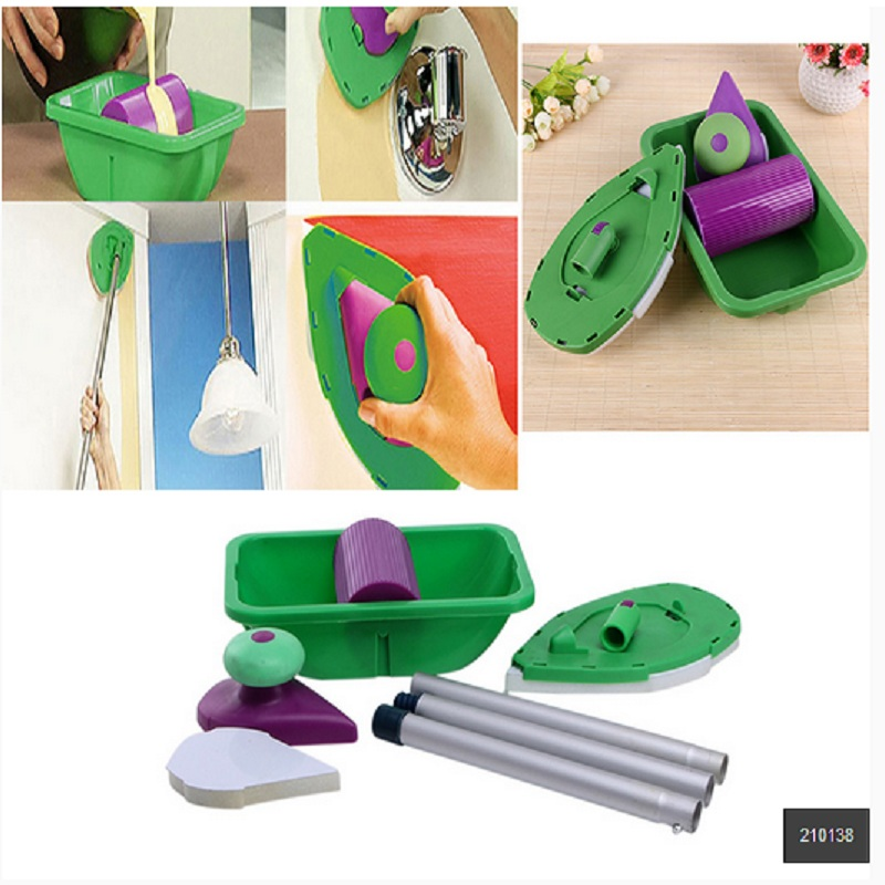 9pcs/set Decorative Paint Roller and Tray Set Paint Pad Pro Painting Roller Brush Point N Paint Household Wall Decoration Tool