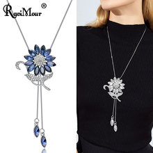 RAVIMOUR Sunflower Crystal Pendant Necklace Women Fashion Jewelry Blue White Rhinestone Long Silver Chain Choker Maxi Collares(China)