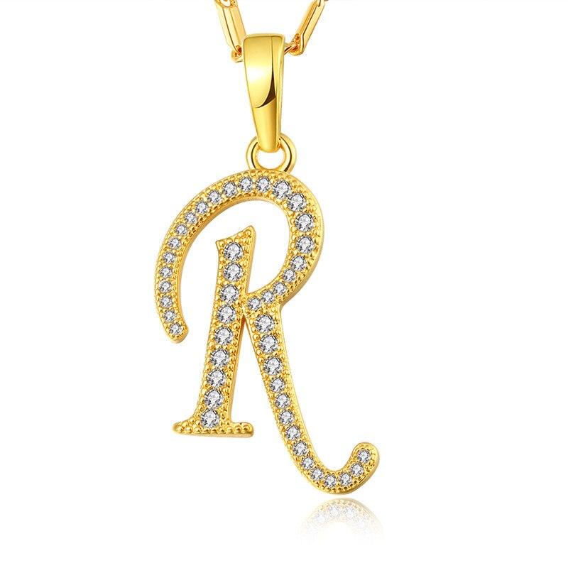 NAKELULU Gold color Necklace Capital Initial R Letter Pendant & Necklace Fashion Alphabet Letter Necklace Women