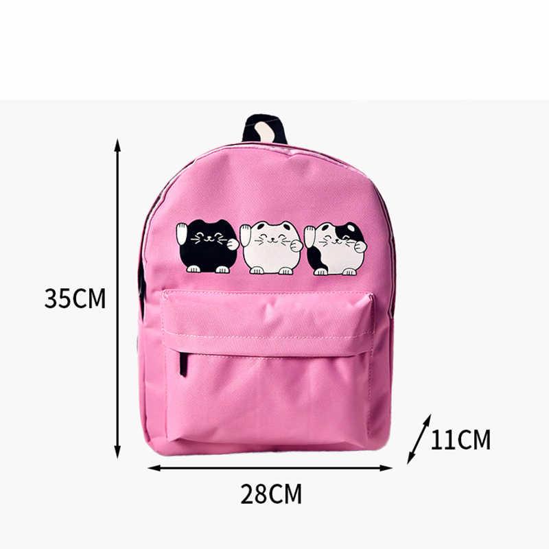 9b129061d71c ... EXCELSIOR Harajuku стиль для женщин холст рюкзаки подростков обувь для  девочек школьные ранцы кот рюкзак женский