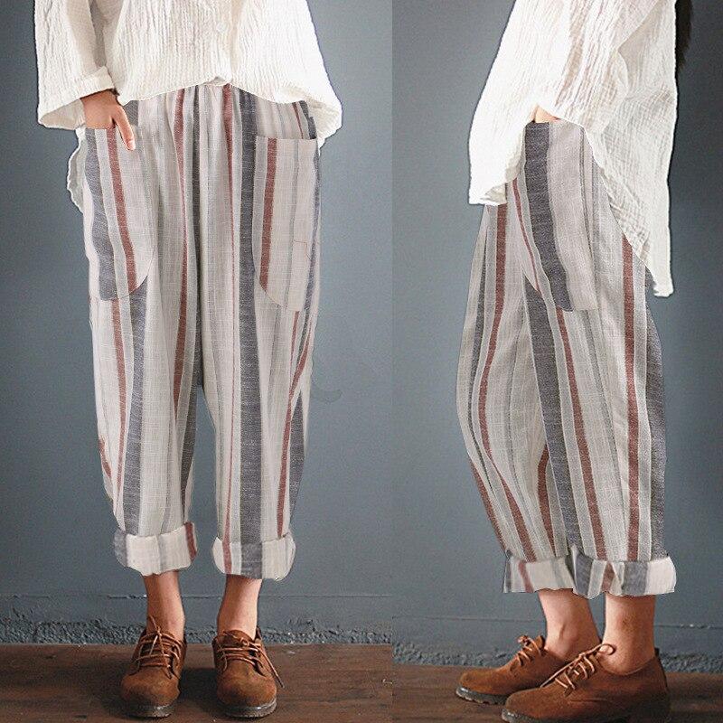 Cotton Linen Ankle Length Pants Women 2019 Summer Casual High Waist Pant Loose Harem Stripe Pocket Women Trousers