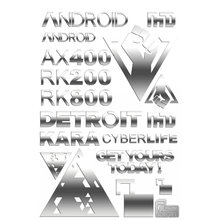 9pcs/set Metal Sticker Detroit: Become Human Stickers for Phone Laptop Car Decal Teenages 3D DIY Sticker Toy 10pcs set 3d metal sticker masked rider build decal stickers for mobile phone laptop waterproof decal diy sticker toy