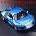 1:32 сплава модели автомобилей, Высокая моделирования Audi r8, Металл diecasts, Транспорт, Отступить и мигающий и музыкальная, Бесплатная доставка