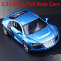 1:32 alloy car models,high simulation Audi R8 , metal diecasts, toy vehicles, pull back &  flashing & musical, free shipping
