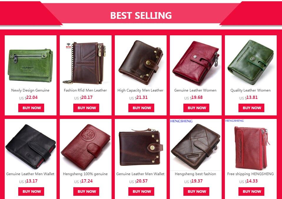 88a3e28cf Hengsheng 100% Cartera de cuero genuino para mujer con cremallera de  calidad billetera femenina para mujer con tarjetero cartera para mujer  carteras cortas ...
