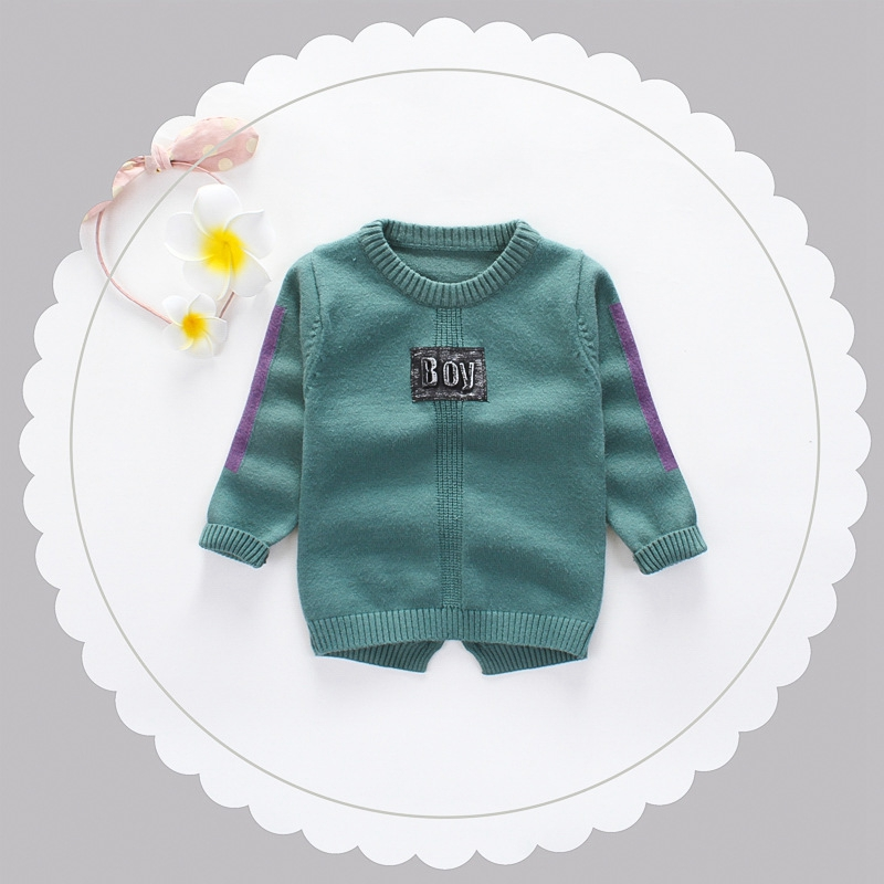 2017 Baby Boys Long Sleeve O Neck Knitwear Letter Pullover Girls Casual Knitted Sweater Kids Clothes roupas de bebe