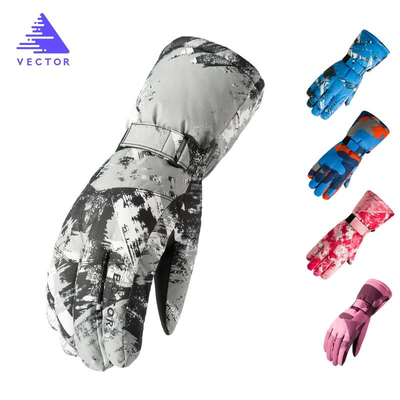VECTOR Waterproof Ski Gloves Men Women Warm Skiing Snowboard Gloves Snowmobile Motorcycle Riding Winter Outdoor Snow Gloves