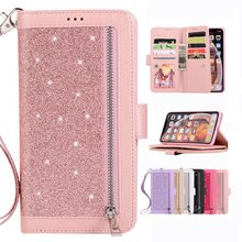 Luxury Leather Case For iPhone X XS Max XR 6 6s Plus Glitter Zipper Flip Wallet Cover 7 8 Phone Cases Coque