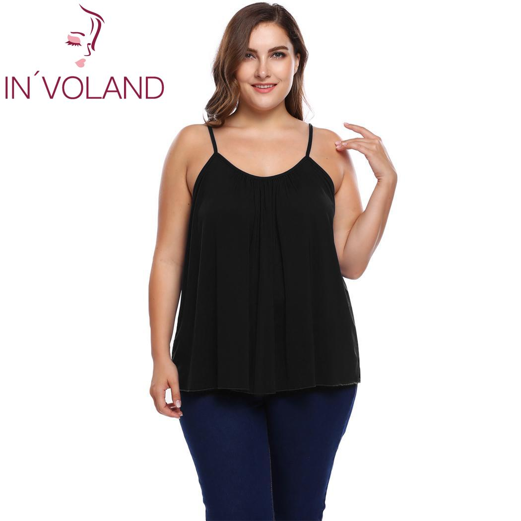 IN VOLAND Plus Size Spaghetti Strap Women Tops Solid Camisole Fashion  Pleated Sleeveless Women Shirts 9d9f1c24a29f