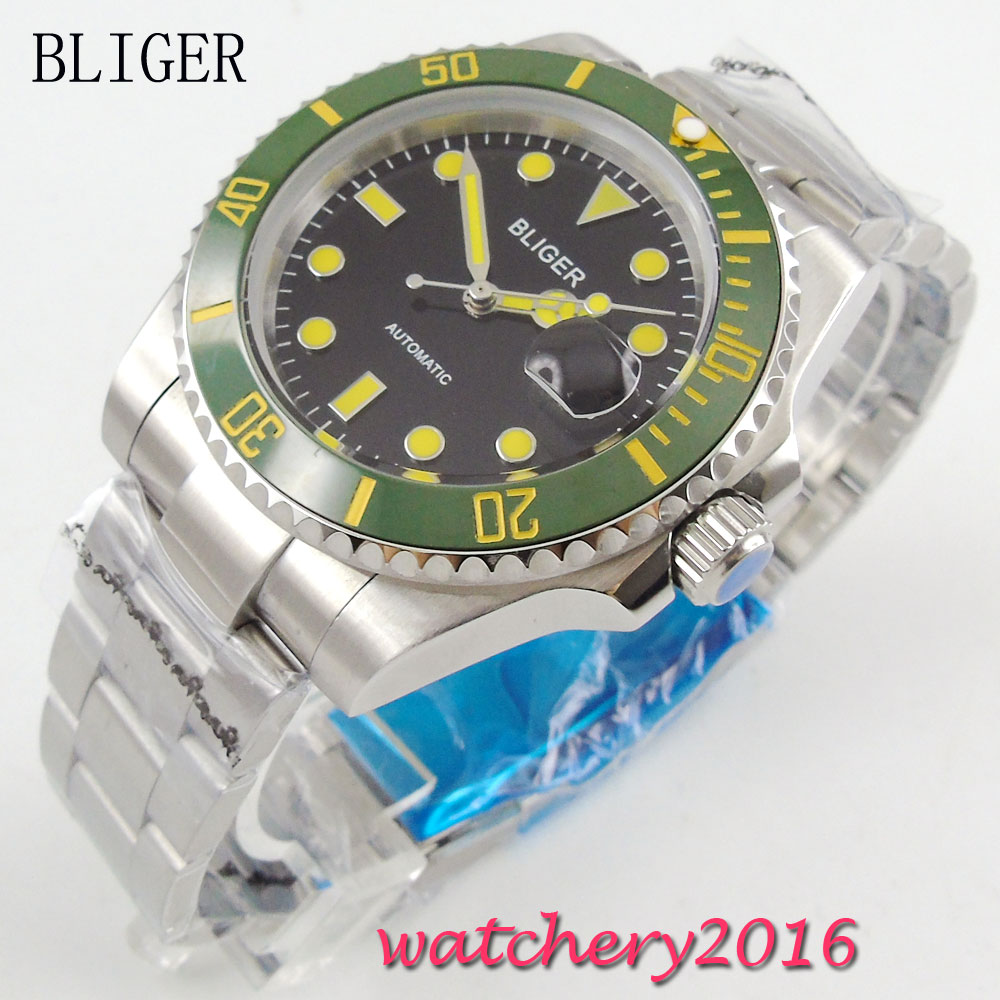 Здесь продается  40mm Bliger black Dial ceramic bezel Miyota Date Adjust Deployment Yellow Markers Sapphire Glass Automatic Movement Men