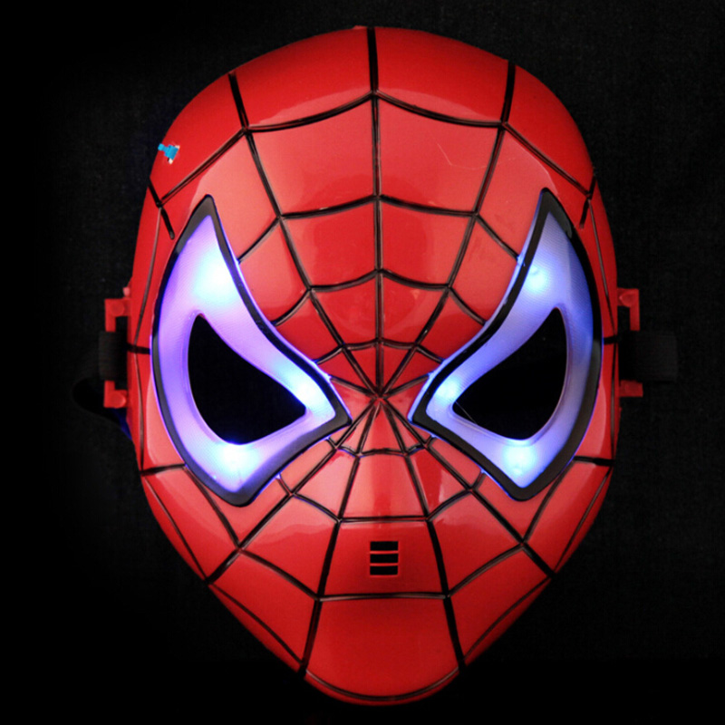 Newest Spider Man Toys Cartoon Animation LED Glowing Spiderman Mask Cosplay Action Figures Toy For Children Gift 2 Colors