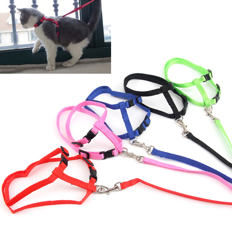 Cat Adjustable Nylon Harness Leash Pet Traction Lead Rope Kitten Walking Breast-band Halter Chest Straps Collar Multiple Color