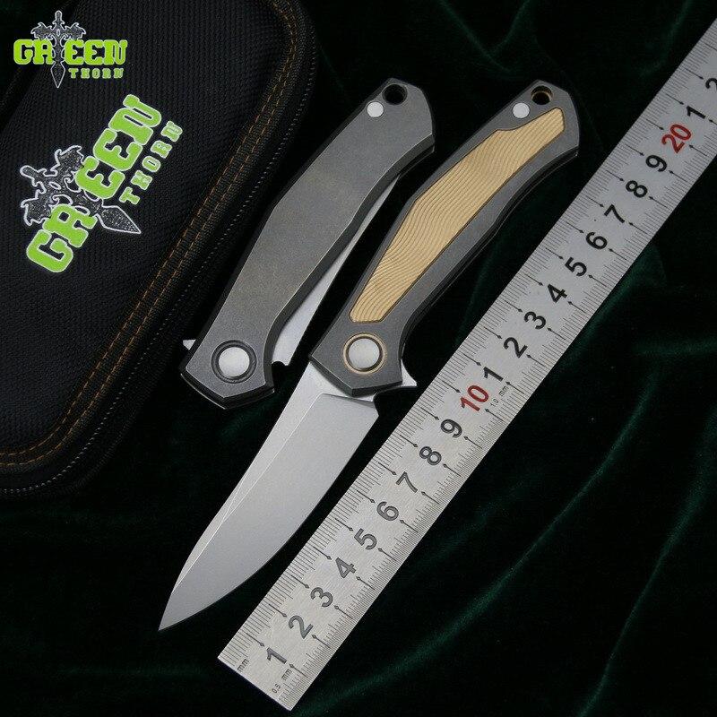 Vert épine cartes V couteau pliant D2 lame titane cuivre poignée extérieur camping chasse poche fruits cuisine couteaux EDC outils