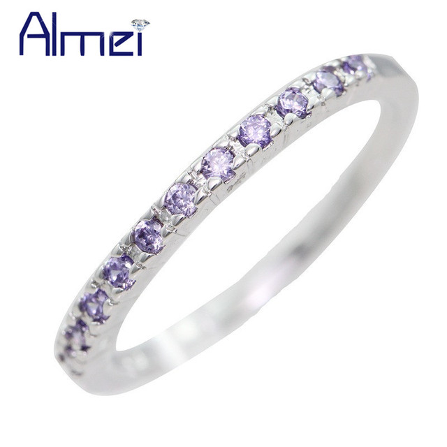 Almei Silver Rings for Women Accessories Fashion Pink Crystal CZ Zircon Anel Wedding Bands,2017 New Anillos Mujer Plata J029
