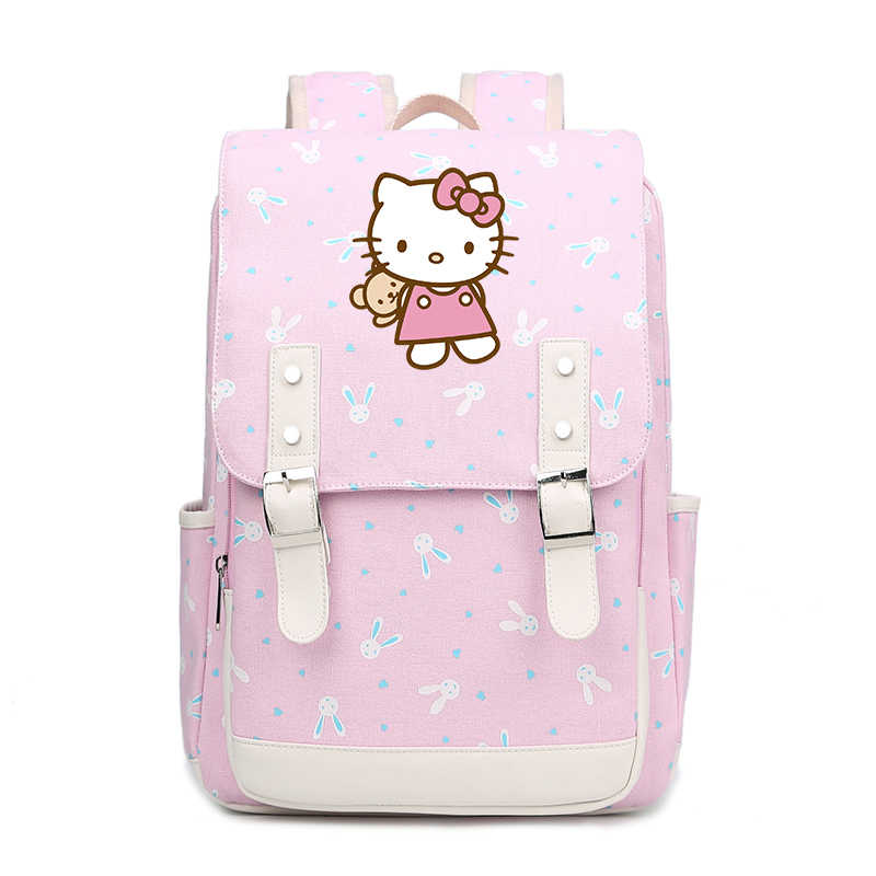 Cute Hello Kitty Backpack Cartoon Children Schoolbag Pink bags For Girls  Teenagers canvas Backpack Hellokitty Travel be2ab5122e