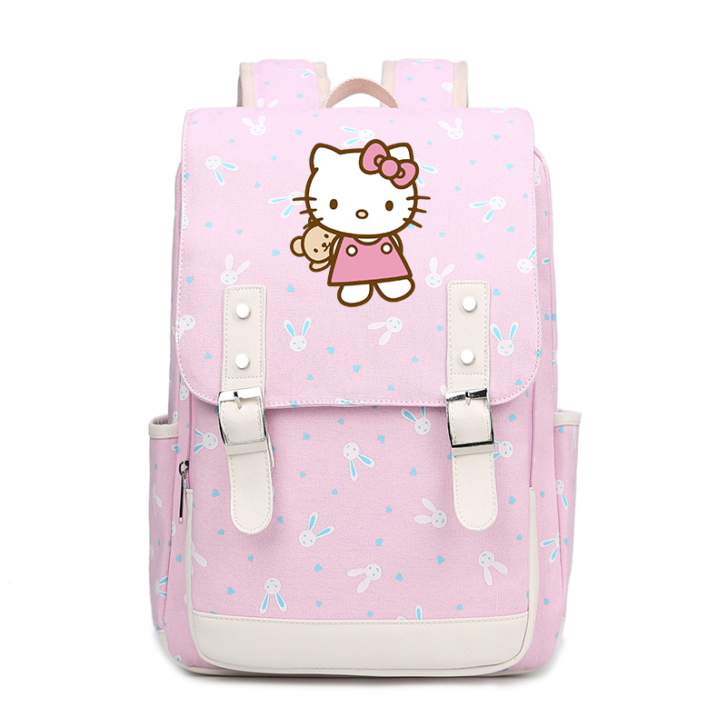 Cute Hello Kitty Backpack Cartoon Children Schoolbag Pink bags For Girls Teenagers canvas Backpack Hellokitty Travel Bag FT духи hellokitty 2012 hello kitty 75ml
