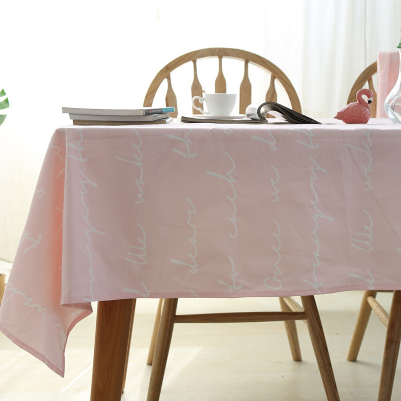 Sale Pink Color rectangle linen cotton hotel tablecloths dinner restaurant coffee table cover flags for home decorative