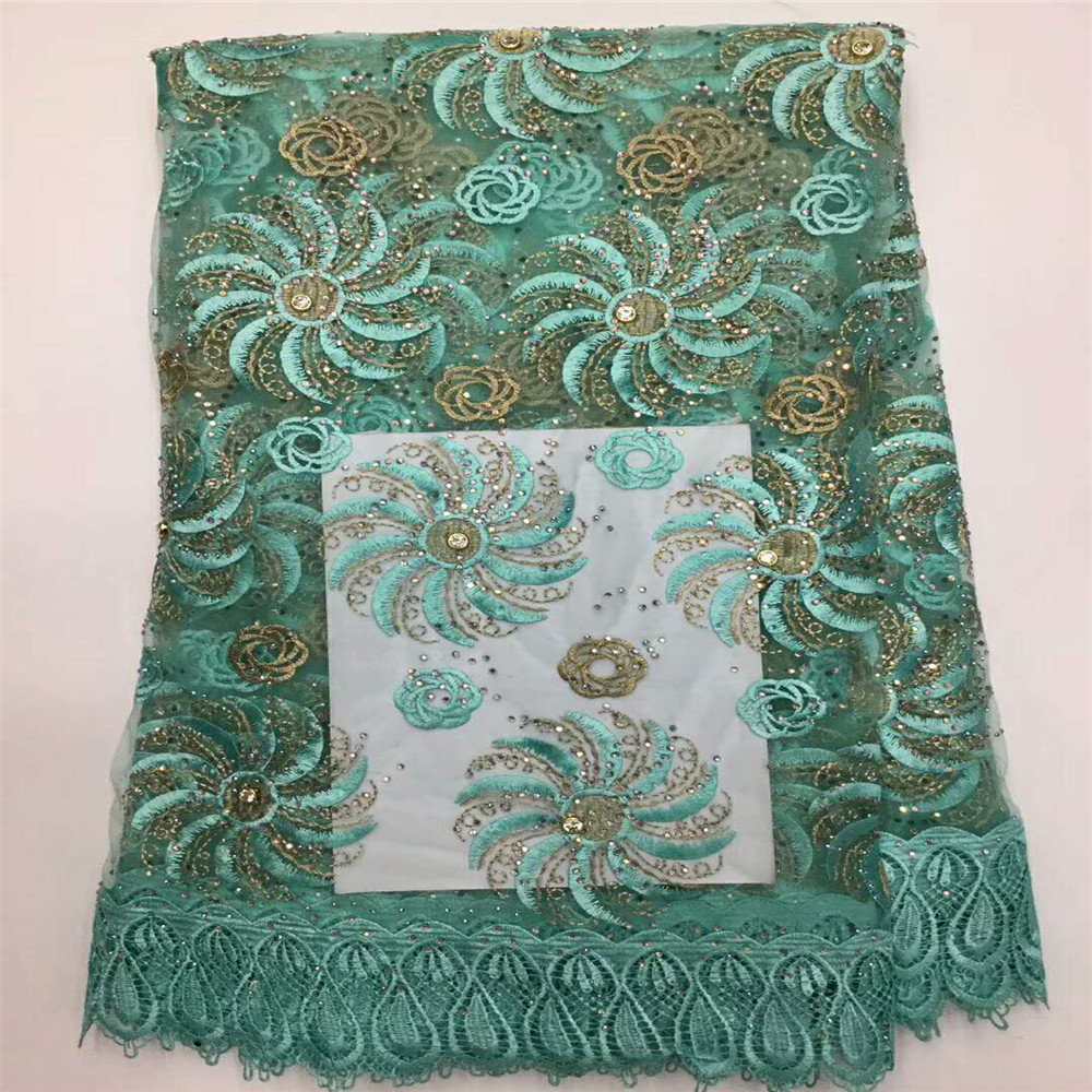 Best Selling 2018 African Bridal Aqua Embroidered Dress Net Lace French Fabric With Stones X389-01Best Selling 2018 African Bridal Aqua Embroidered Dress Net Lace French Fabric With Stones X389-01